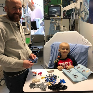 Building LEGO while getting his VAC chemo.