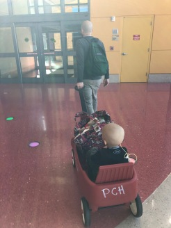 Love the red wagons after a long day of radiation and chemo!