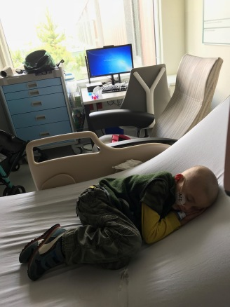 Sleeping during his chemo.