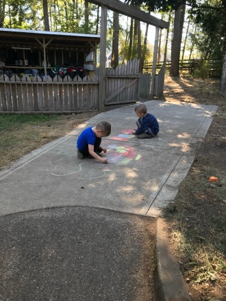 Sidewalk art with chalk from the hospital treasure drawer.