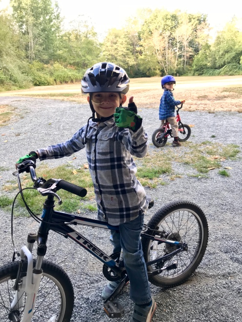 Riding bikes at the nearby park.