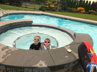 Had a fun time swimming at our new friend Ms. Gwen's house!