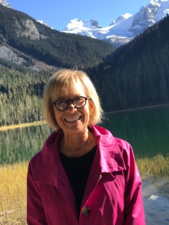 Aunt J at Joffre Lakes before we watched a couple brave souls jump into the COLD water!